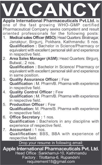 Apple International Pharmacy Vacancy 2075