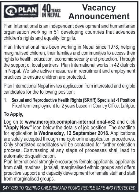 Plan International Vacancy 2018