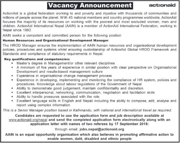 Actionaid vacancy 2018