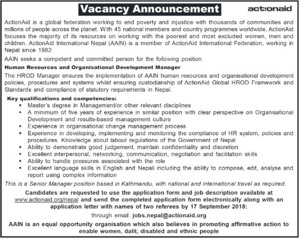 Actionaid vacancy 2018