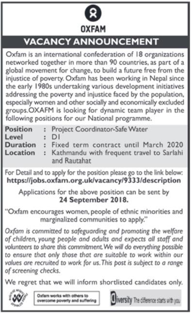 Oxfam vacancy 2018