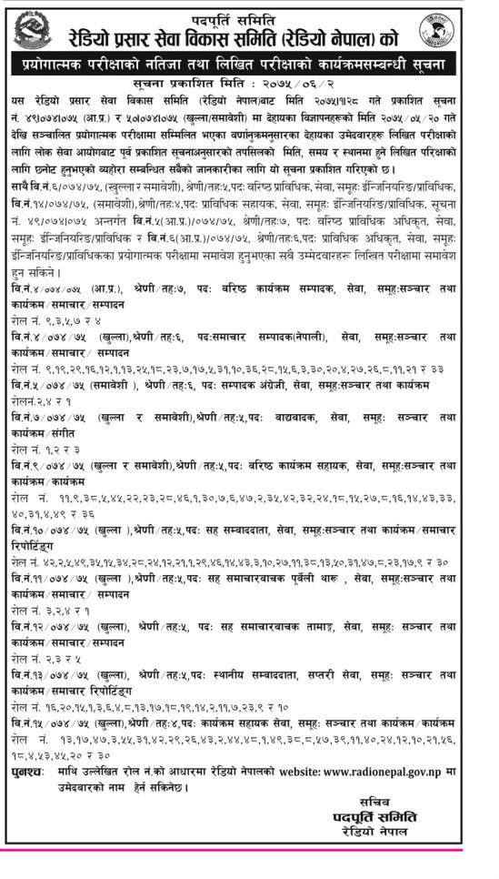 Radio Nepal Practical Result 2075