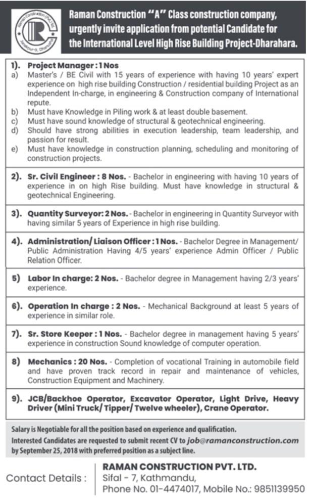 Raman Construction Vacancy 2018