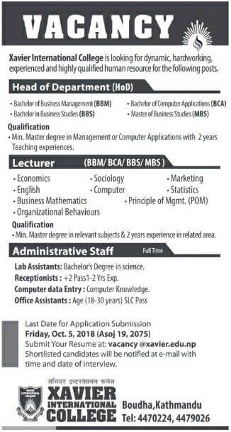 Xavier International College Vacancy 2075