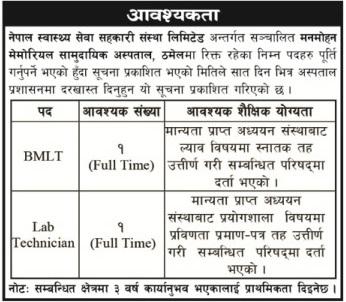 Manmohan Memorial Community Hospital Vacancy 2076