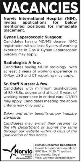 Norvic Hospital Vacancy 2076