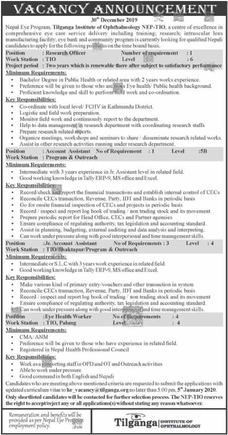 Tilganga Hospital vacancy 2076