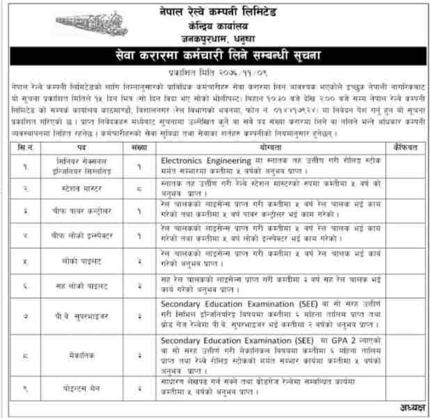 Nepal railway company vacancy