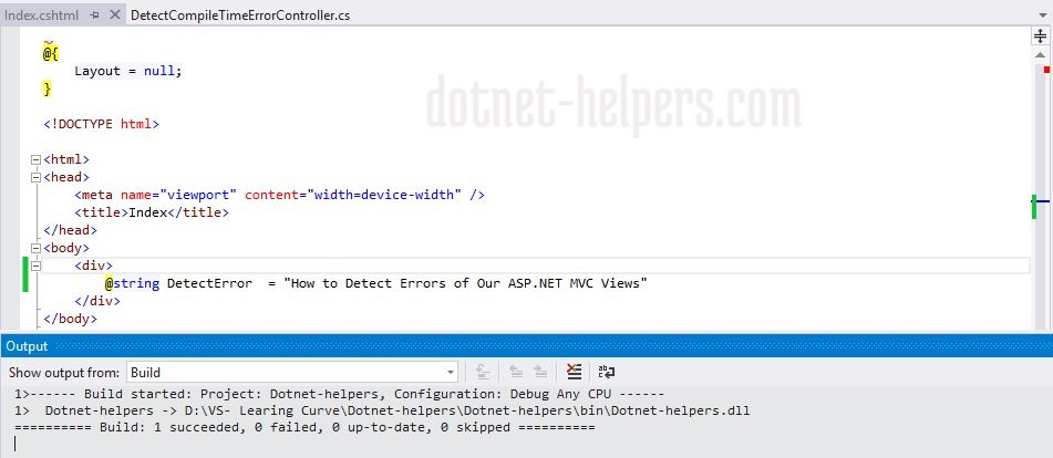 How to Detect Errors of Our ASP.NET MVC Views on Compile Time - dotnet-helpers
