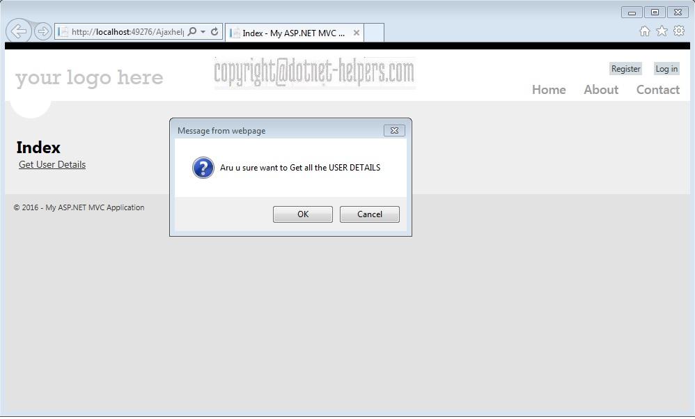 Ajax Helper call with Confirmation msg - dotnet-helpers