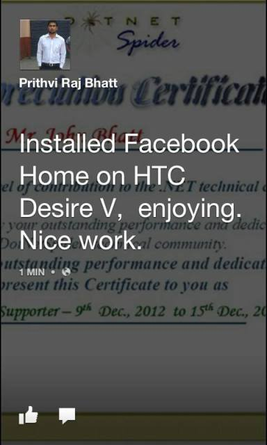 Facebook Home on HTC Desire V 2