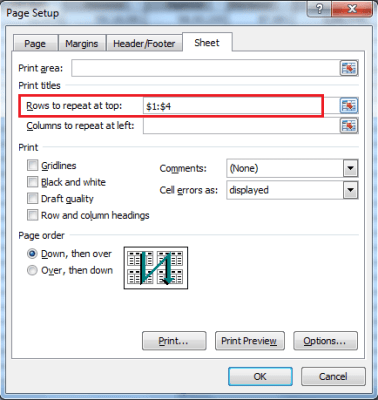 Printing Header Rows (titles) in all pages of Microsoft Excel 10