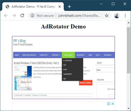 Using AdRotator in ASP.NET - Sample Ad QuestPond