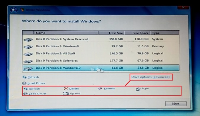 Install Windows from USB