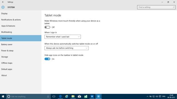 Windows 10 Settings - Tablet mode