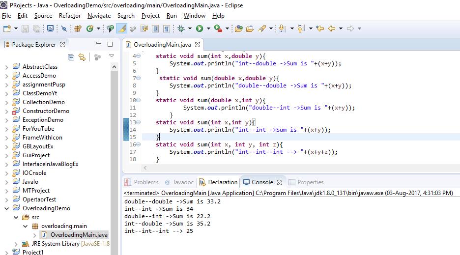 Output Method Overloading
