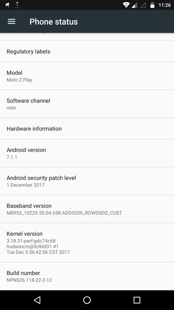 Android Update for Moto Z Play - NPNS26.118-22-2-17 2