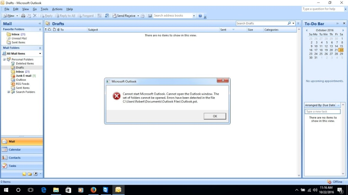 Outlook PST Crashed Message