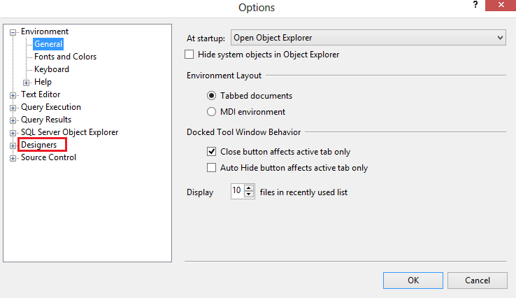 Options Dialogue Box of SSMS