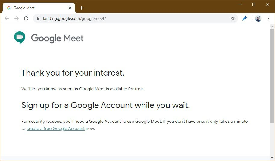 Google Meet signup confirmation