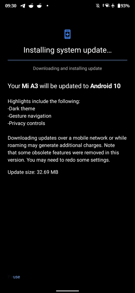 Android 10 for Mi A3 Build released V11.0.14.0.QFQMIXM