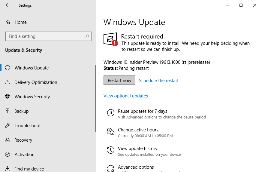 Windows 10 Insider preview Build 19613 in Fast Ring