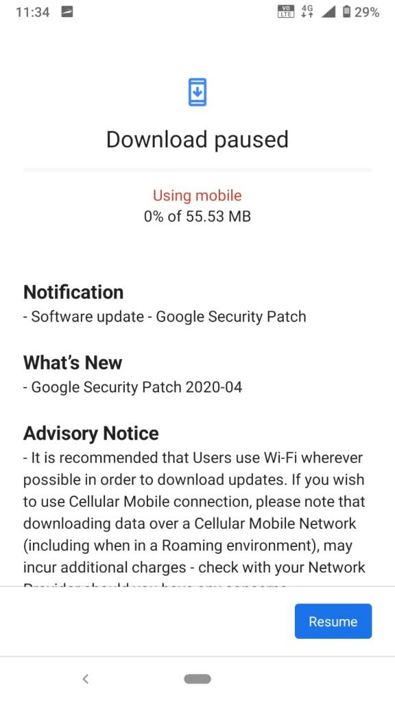 Software Update for Nokia 6.1 Build 00WW_4_10C_SP04 Available Notification