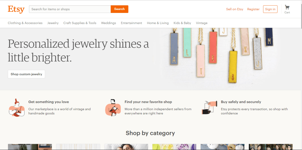 mobile friendly website example - etsy