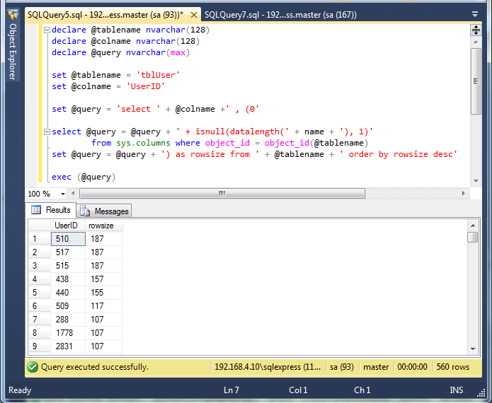 SQL Query to get table row size - Dotnet Learners