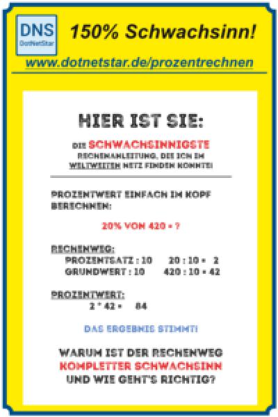 Pintererst-PIN: Prozentrechnen: Schwachsinniger Tipp im Netz!