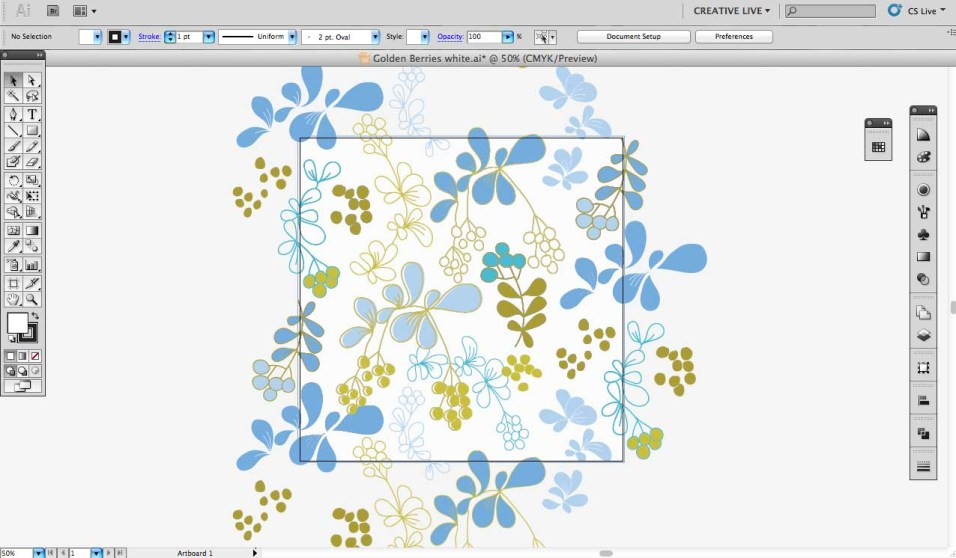 4. The art board in Illustrator with the design elements spread out.
