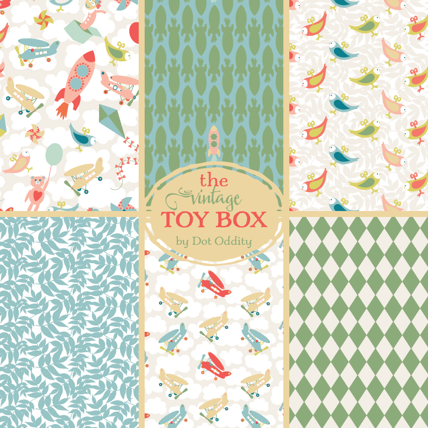 The Vintage Toy box collection by Maria Larsson
