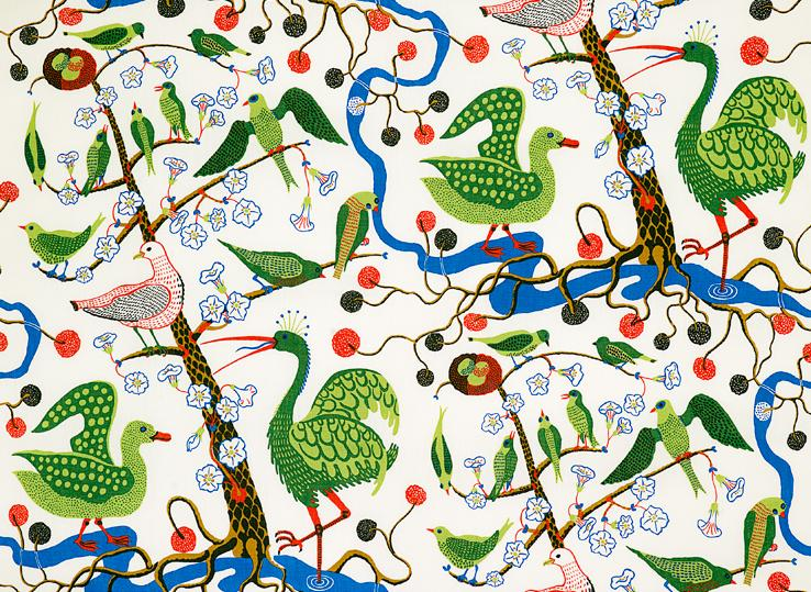 Green Birds by Josef Frank