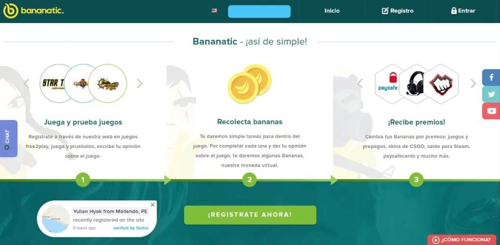 Bananantic: Ganar dinero por jugar juegos online gratis.