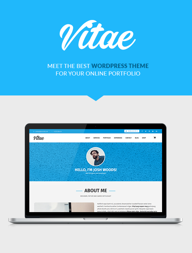 Vitae Resume WordPress WooCommerce   Theme