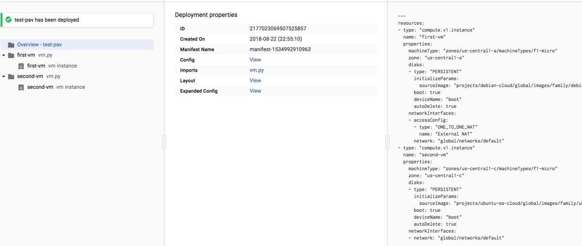 Python шаблоны в Deployment Manager