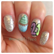 21st birthday and cupcake nails