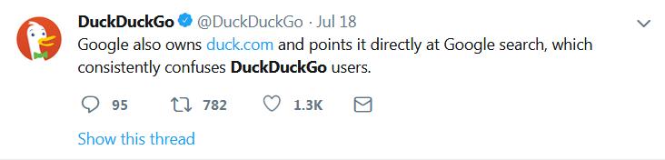 DuckDuckGo Tweet