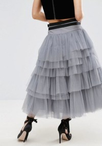 tulle skirt grey back