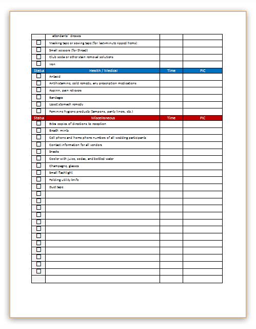 Wedding day checklist template for bridal  Dotxes