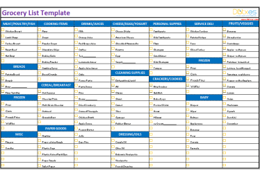 grocery template shopping categorized templates printable excel dotxes