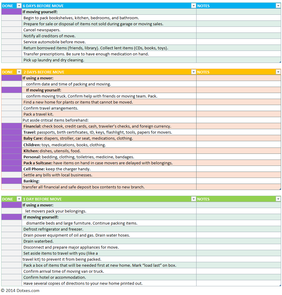 moving to do list template