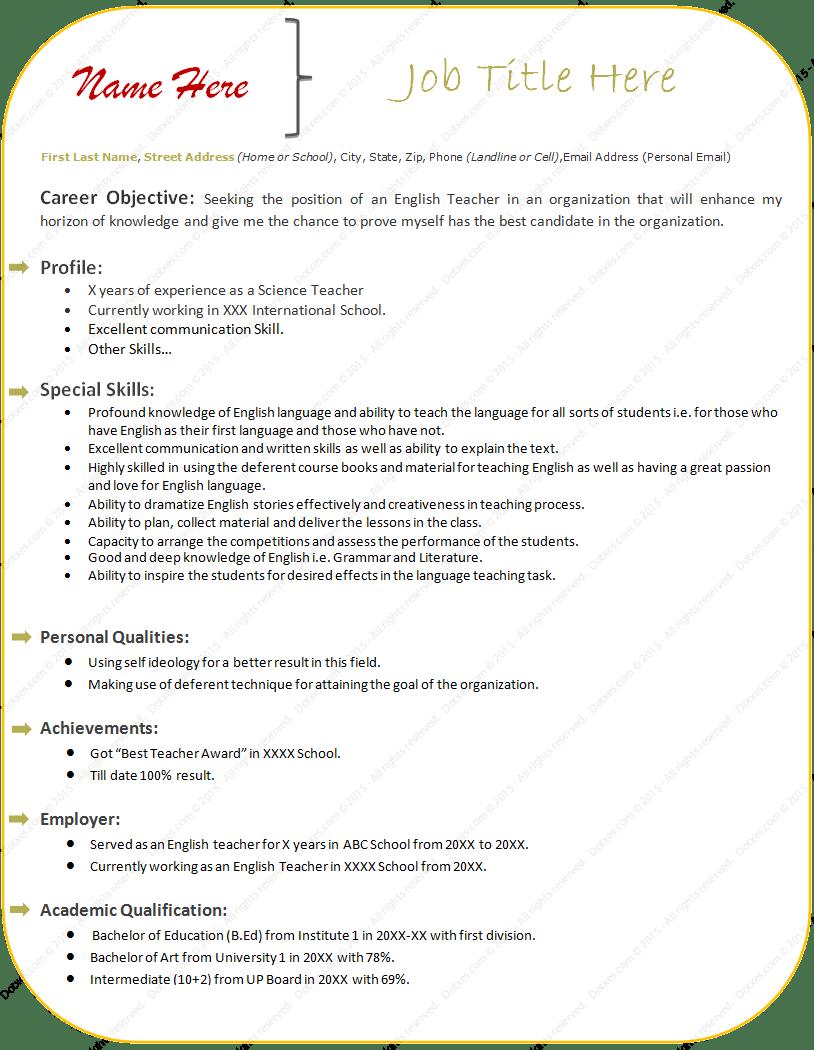 Free Sample Resume Format for Teacher