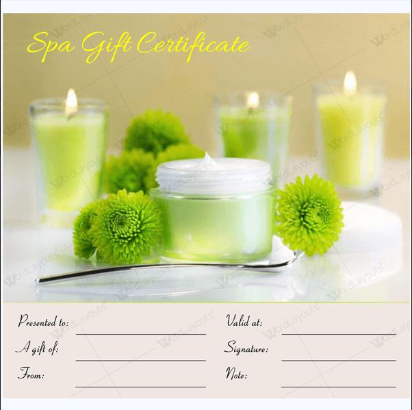 Massage gift certificate format