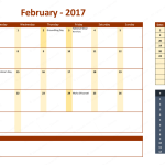 February 2017 Calendar with Holidays