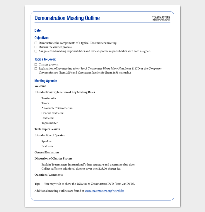 Demonstration Meeting Outline Template