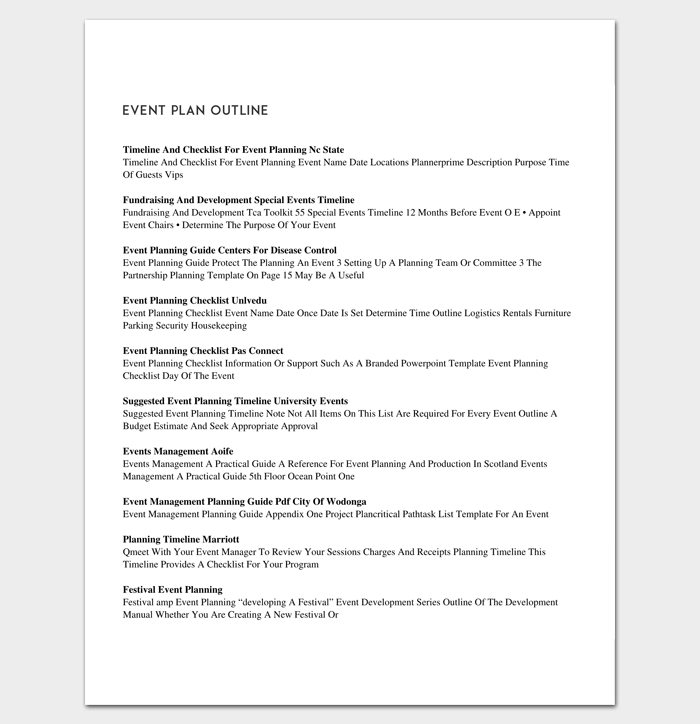 Event Plan Outline Template
