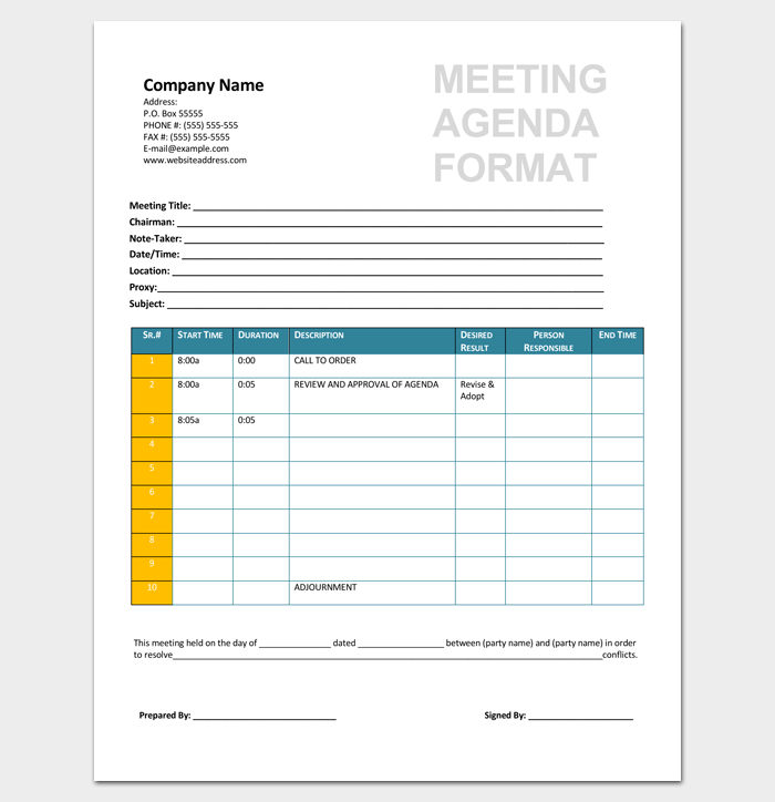 Printable Meeting Agenda Format