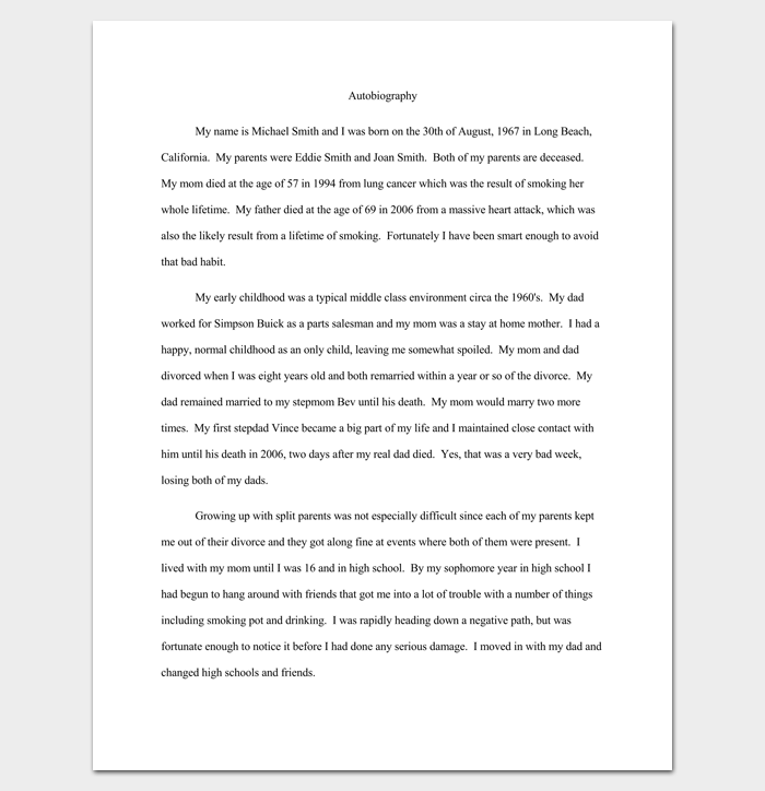 Autobiography Outline Template 23 Examples And Formats