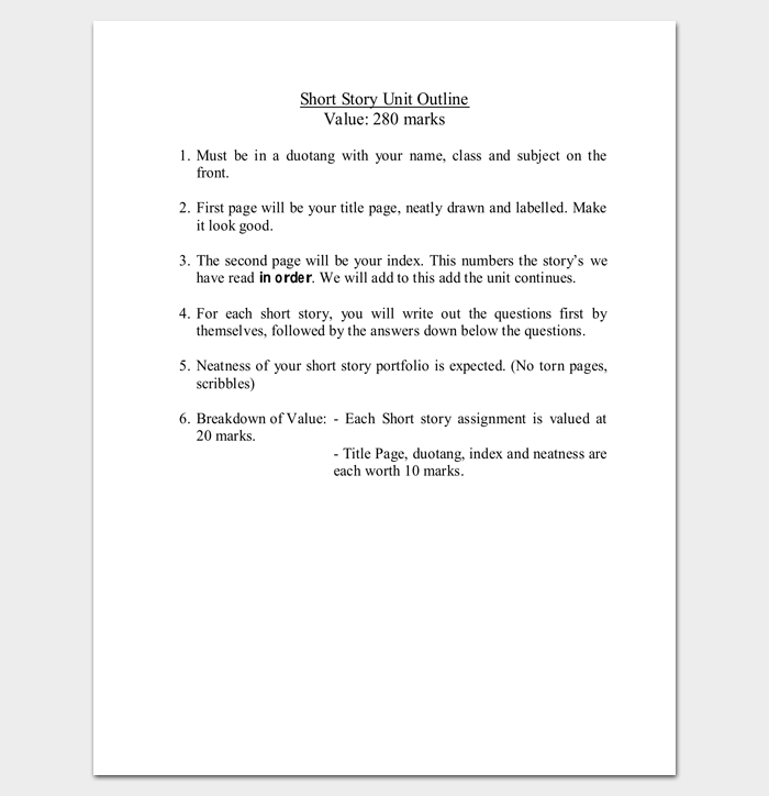 short story template word